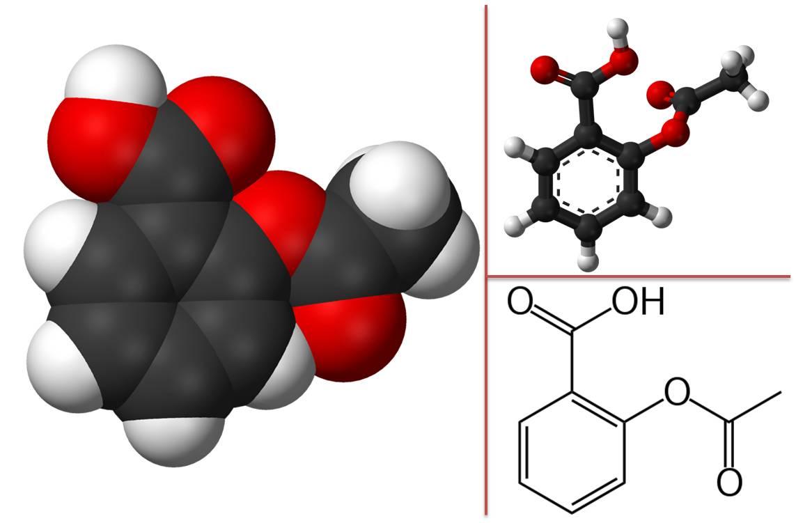 Diverses représentations de la molécule d'acide acétylsalicylique (@ Wikimedia).