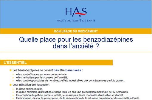 La Haute Autorité de Santé vient de publier une fiche de bon usage des benzodiazépines lorsqu'elles sont prescrites en cas d'anxiété (illustration).