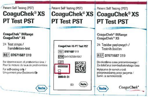 Le numéro de lot est imprimé sur l'étiquette des boîtes de bandelettes CoaguChek comme indiqué ci-dessus.
