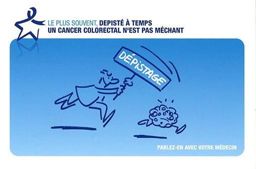 Affiche de sensibilisation sur le dépistage du cancer colorectal (illustration).
