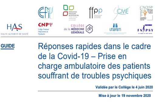 La HAS a actualisé plusieurs de ses Réponses rapides dans le cadre de la COVID-19 dont celle sur la prise en charge ambulatoire des patients souffrant de troubles psychiques (illustration).