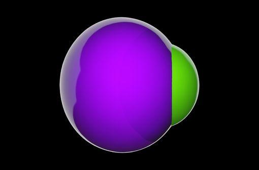 Représentation en 3D d'une molécule de chlorure de potassium (illustration).