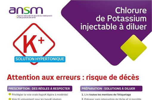 Affiche mise à la disposition des établissement de santé par l\'ANSM (haut de l\'affiche).