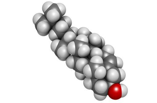 Représentation en 3D d'une molécule de cholestérol.