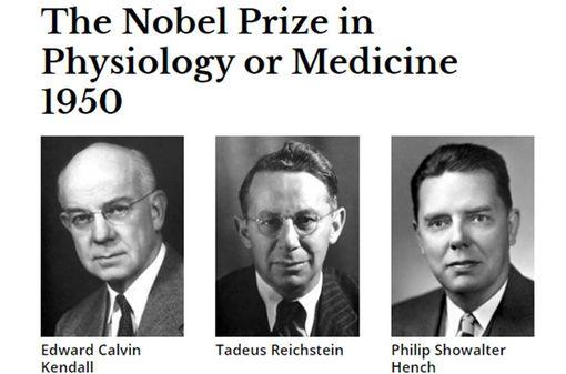 PS Hench, EC Kendall et T Reichstein, récompensés par le Pric Nobel pour leur découverte des hormones corticosurrénales (© Nobelprize.org).