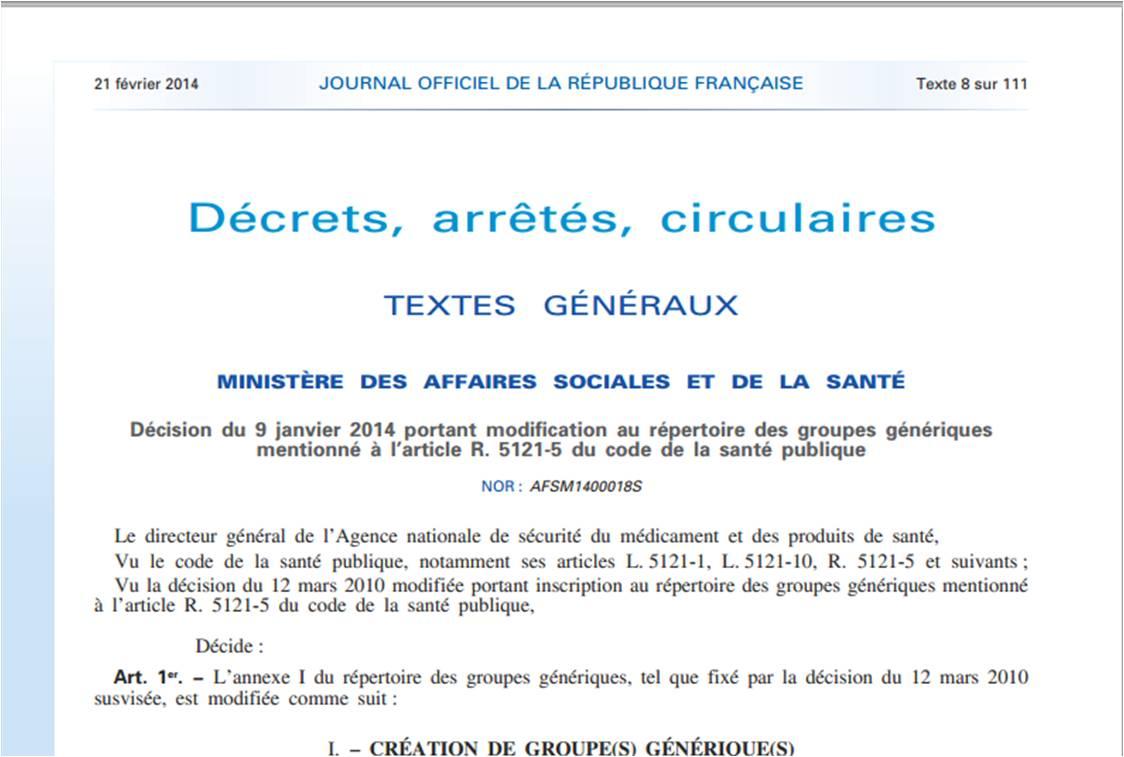 Décision du 9 janvier 2014 portant modification au répertoire des groupes génériques (extrait).