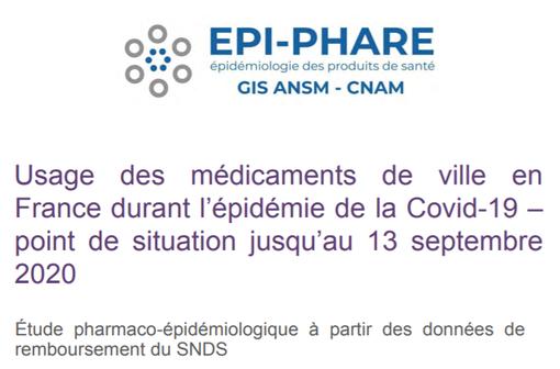 EPI-PHARE réalise depuis le début du confinement le suivi de la consommation des médicaments sur ordonnance délivrés en ville en France pour l'ensemble de la population française.
