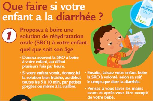 En cas de gastroentérite aiguë, l'administration d'un SRO est recommandée en première intention chez les nourrissons et jeunes enfants pour compenser les pertes liquidiennes (capture d'un dépliant destiné au grand public, © INPES).