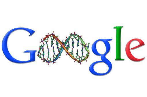 Logo Google mixé avec la modélisation d'une molécule d'ADN, © Michael Ströck, Wikipedia Commons (illustration).