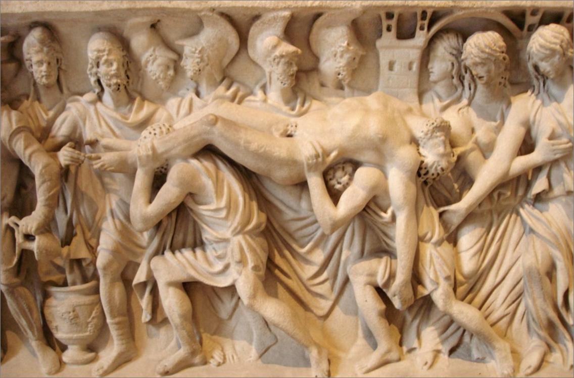 """Homère, dans l'Iliade au chant XV « Réveil et colère de Zeus », employa pour la première fois le mot """"asthme"""" pour désigner la """"suffocation atroce"""" dont souffrit Hector étendu dans la plaine (cliché : @ Marie-Lan Nguyen, Wikimedia)."""