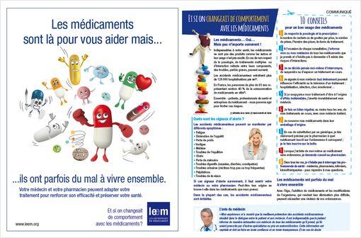 Eléments de la campagne d'information du Leem, destinée au grand public, sur les risques iatrogéniques.