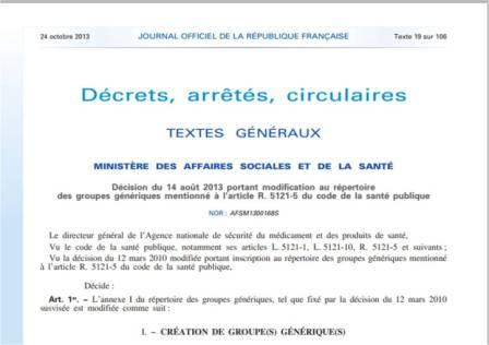 Extrait de la décision du 14 août 2013 publié au Journal officiel du 24 octobre (Légifrance)