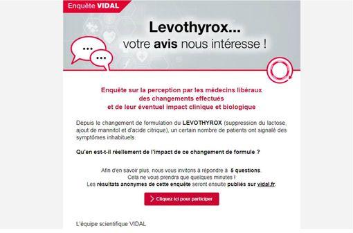 LEVOTHYROX : évaluation par 2 900 médecins de l'impact de la nouvelle formulation (enquête VIDAL)
