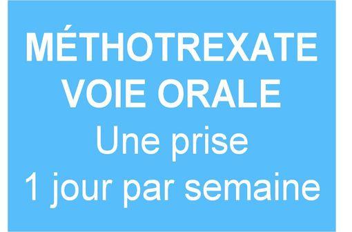Visuel de l'ANSM pour alerter les professionnels de santé et les patients sur le schéma posologique du méthotrexate par voie orale.