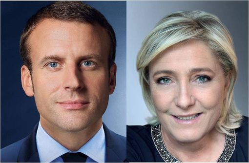 (photographies issues des sites officiels de Marine Le Pen et d'Emmanuel Macron).