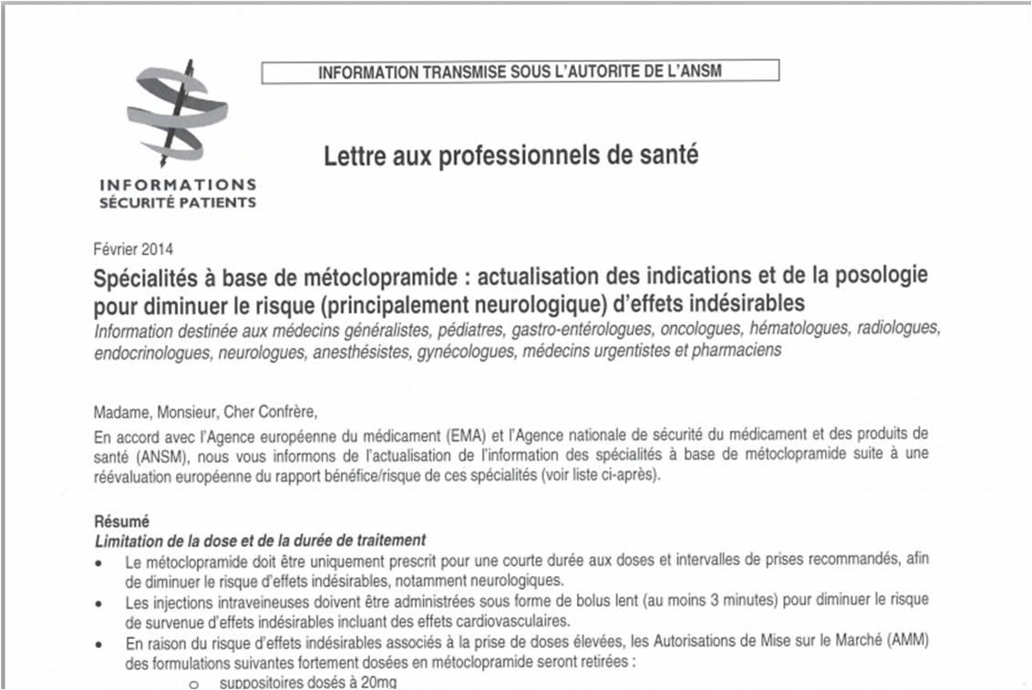 Extrait de la lettre d'information aux professionnels de santé pour la sécurité des patients (sur le site de l'ANSM).