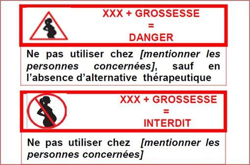 A partir du 17 octobre, l'un ou l'autre des pictogramme ci-dessus sera présent sur les boîtes des médicaments à risque pendant la grossesse.