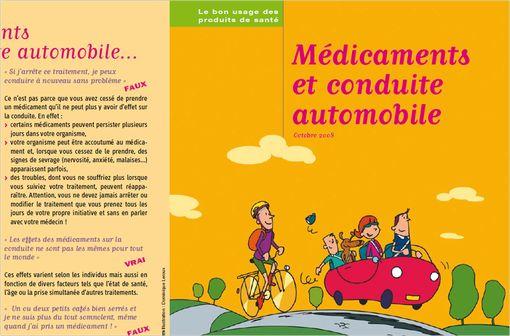 Dépliant d'information et de sensibilisation du grand public sur les risques de certains médicaments au volant, édité par l'ANSM en 2008 (capture d'écran - illustration).