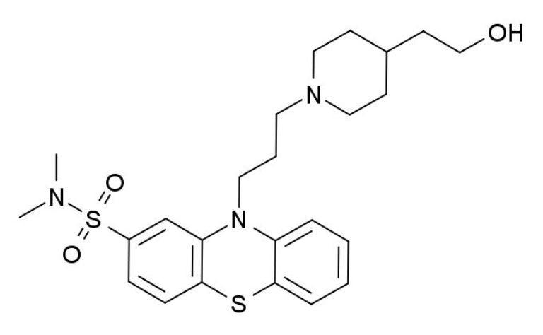 Antipsychotique neuroleptique, la pipotiazine est une phénothiazine de structure pipéridinique (source image : © Wikipedia).