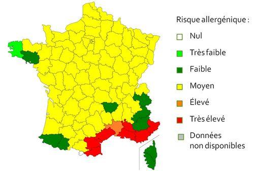 Carte de vigilance des pollens - valable du 18 au 25 mars (illustration @Réseau national de surveillance aérobiologique 2016)