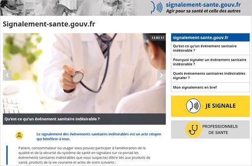 Capture d'écran du nouveau site de signalement d'événements indésirables liés à des produits ou actes de soins.