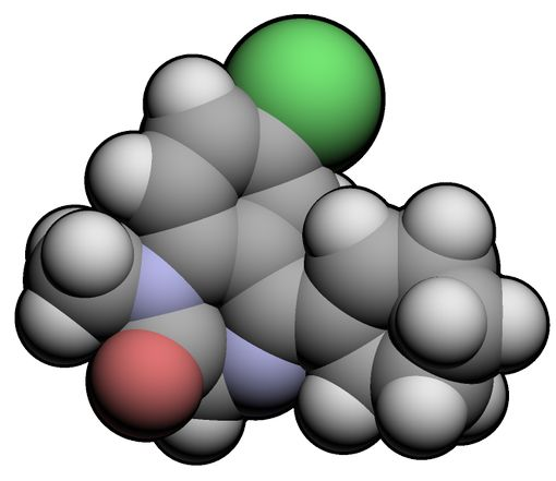 Représentation 3D de la molécule de tétrazépam (© Ccroberts, wikipedia)