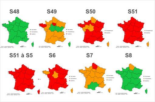 Evolution hebdomadaire des niveaux d'alerte de la semaine 48 de 2016 à la semaine 8 de 2017 (France métropolitaine).
