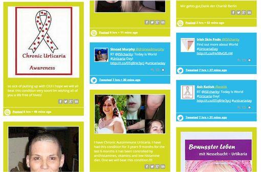 Témoignages et contribution de personnes atteintes d'urticaire (capture d'écran du site urticariaday.org).